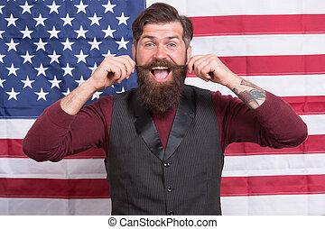 educación, hipster, ser, flag., ciudadano, election., hombre...