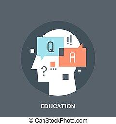 educación, icono, concepto