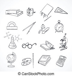educación, icono, garabato
