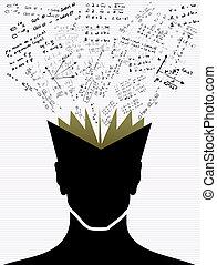educación, iconos, back to la escuela, cabeza humana, book.