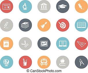 educación, iconos, clásico, serie