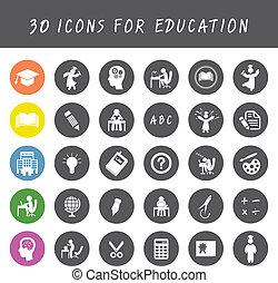 educación, iconos, conjunto