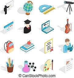 educación, iconos, conjunto, isométrico, 3d, estilo