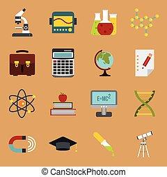 educación, iconos, conjunto, plano, estilo