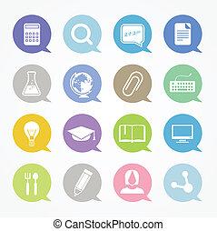 educación, iconos de la tela, conjunto, en, color, discurso, nubes