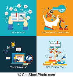 educación, iconos, en, plano, estilo