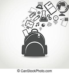 educación, iconos, fluir, en, abierto, bolsa escuela