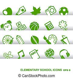 educación, iconos, fundamentos, escuela primaria