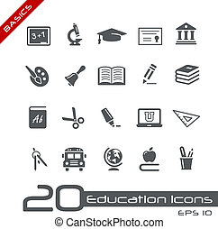 educación, iconos, //, fundamentos