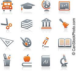 educación, iconos, //, grafito, serie