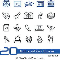 educación, iconos, //, línea, serie