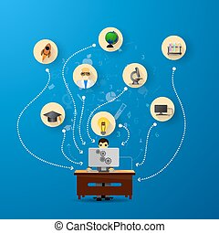 educación, infographic, con, libro, pila, y, iconos