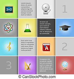 educación, infographic, elementos