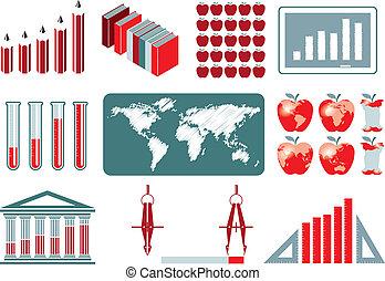 educación, infographics, colección