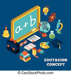 educación, isométrico, concepto