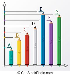 educación, lápiz, escalera, infographics, opción