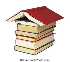 educación, libros, pila