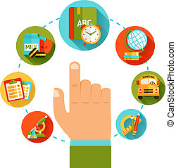 educación, mano, concepto