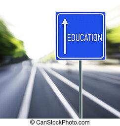 educación, muestra del camino, en, un, rápido, fondo.
