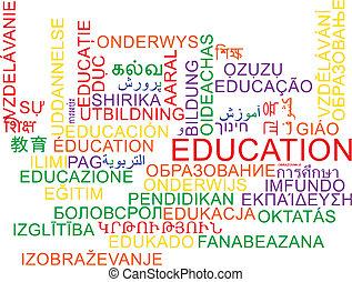 educación, multilanguage, wordcloud, plano de fondo, concepto