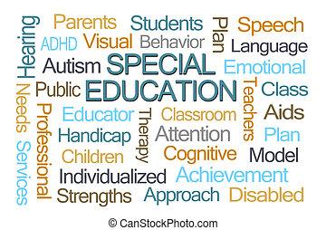 educación, palabra, especial, nube