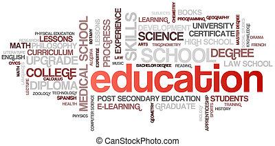 educación, palabra, nube, burbuja, etiquetas, árbol, detallado, vector