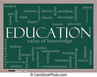 educación, palabra, nube, concepto, en, un, pizarra