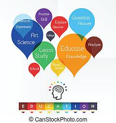 educación, -, palabra, nube