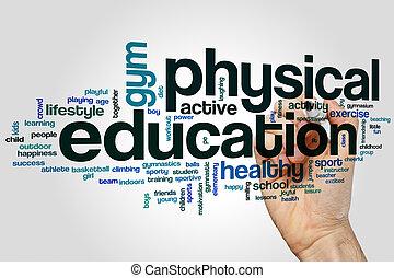 educación, palabra, nube, físico