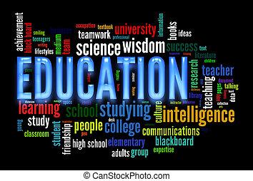 educación, palabra, nube