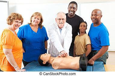 educación para adultos, primeros auxilios, clase