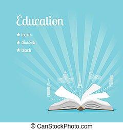 educación, plano de fondo, con, texto