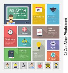 educación, plano, tela, elementos, con, iconos
