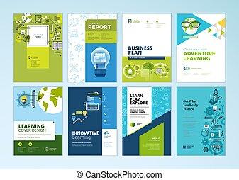 educación, plantillas, en línea, diseño, escuela, folleto, ...