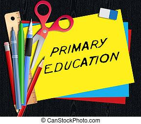 educación primaria, medios, niño que estudia, 3d, ilustración