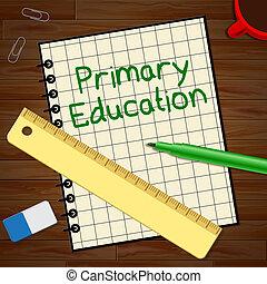 educación primaria, representa, niño que estudia, 3d, ilustración