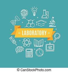 educación, química, ciencia, concept., vector