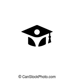 educación, silueta, color, logotype, aislado, graduación, uniforme, soltero, vector, negro, ilustración, estudiante, blanco, elemento, sombrero, logotipo