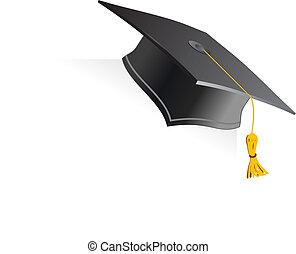 educación, taza, blanco, fondo., vector, ilustración