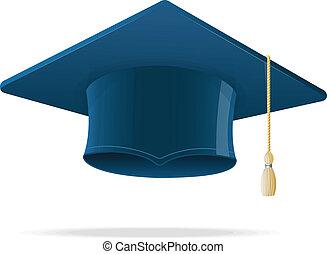 educación, taza, en, white., graduación, cap.
