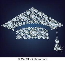 educación, taza, hecho, de, diamantes