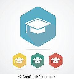 educación, taza, plano, icon., graduación, cap.