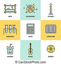 educación, temas, plano, iconos