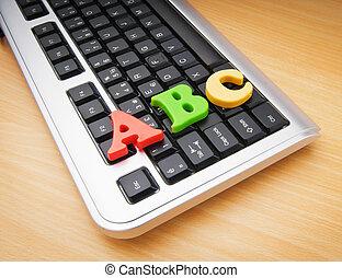 educación temprana, concepto, con, teclado, y, cartas