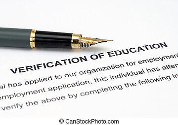 educación, verificación