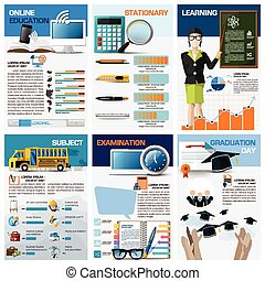 educación, y, aprendizaje, gráfico, diagrama, infographic