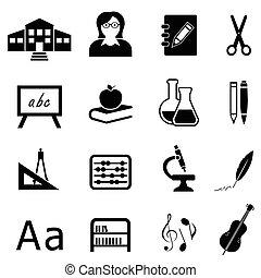 educación, y, back to la escuela, icono, conjunto