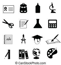 educación, y, escuela, iconos