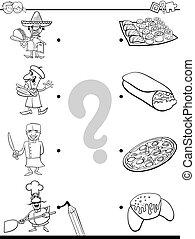 educacional, alimento, cozinheiros, cor, jogo, livro, partida