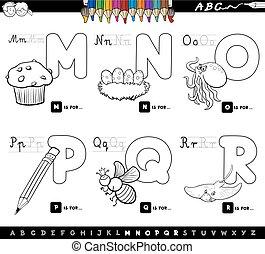educacional, caricatura, alfabeto, cartas colorem, livro